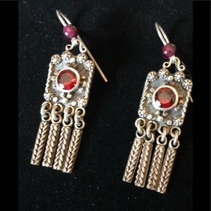 Sterling Silver Ornate with Ruby Stone Earrings